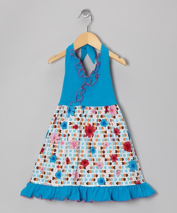 Turquoise Heart Ruffle Halter Dress - Toddler & Girls