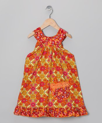 Red Fiesta Trapeze Dress - Toddler & Girls