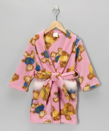 Pink Bear Robe - Girls