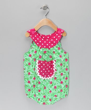 Green Vintage Rose Bubble Bodysuit - Infant