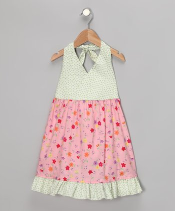 Pink Daisy Halter Dress - Toddler & Girls