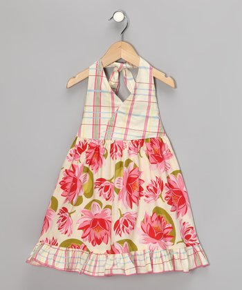Beary Basics Cream Lily Pad Halter Dress - Toddler & Girls