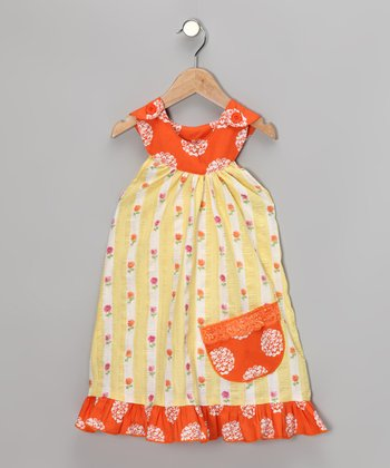 Yellow Summer Daisy Trapeze Dress - Toddler & Girls
