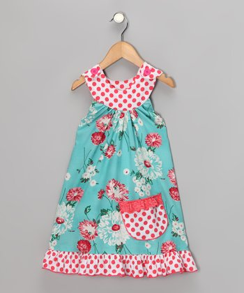 Baby Blue & Rose Mum Yoke Dress - Toddler & Girls