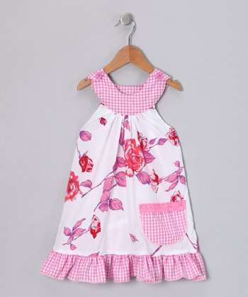Hot Pink Rose Trapeze Dress - Toddler & Girls