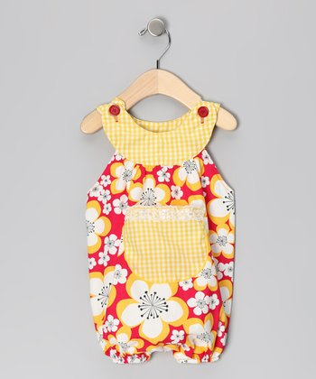 Red Lilac Flower Bubble Romper - Infant