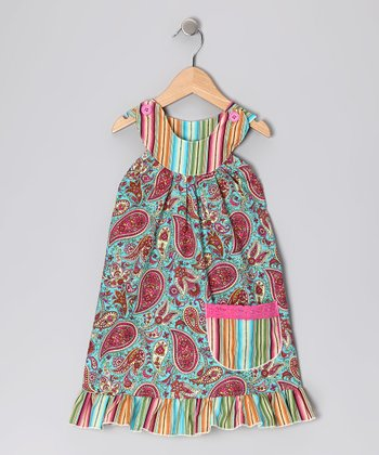 Teal Paisley Trapeze Dress - Toddler & Girls