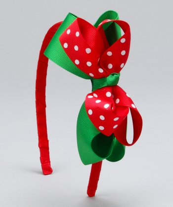 Green & Red Polka Dot Headband