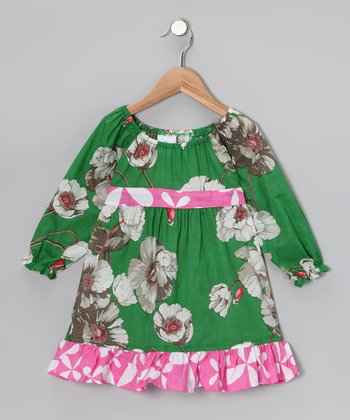 Pink & Green Garden Pattycake Dress - Toddler & Girls