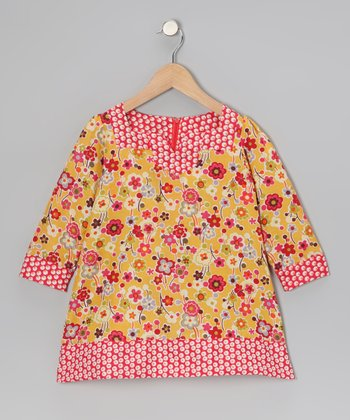 Mustard Daisy Shift Dress - Toddler