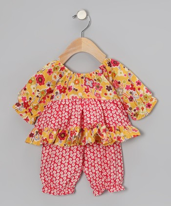 Mustard Daisy Pattycake Top & Pants - Infant