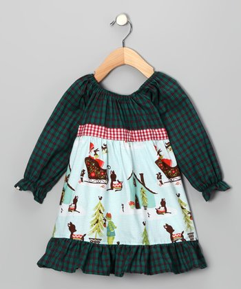Blue Winter Peasant Dress - Girls