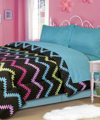 Black & Blue Rickrack Twin Comforter Set