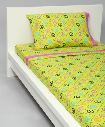 Peace & Love Yellow Sheet Set