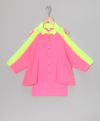Neon Pink Cutout Button-Up & Tank - Girls