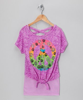Neon Purple Peace Sign Tank & Tie Top