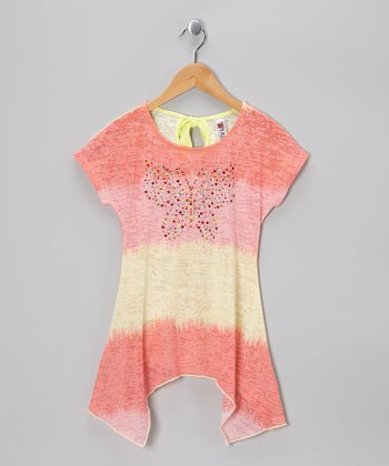 Coral Rhinestone Butterfly Tissue Tee