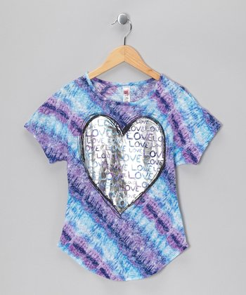 Royal Blue Glisten Heart Tie-Dye Tee