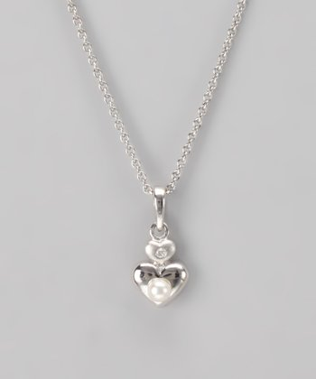Silver Pearl Heart Necklace
