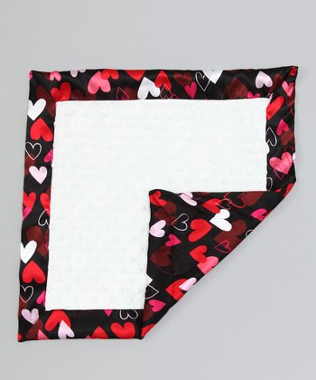 White & Black Hearts Minky Security Blanket