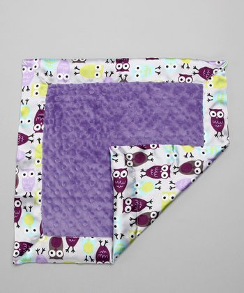 Purple Night Owl Minky Security Blanket