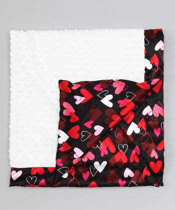 White & Black Hearts Satin Minky Receiving Blanket