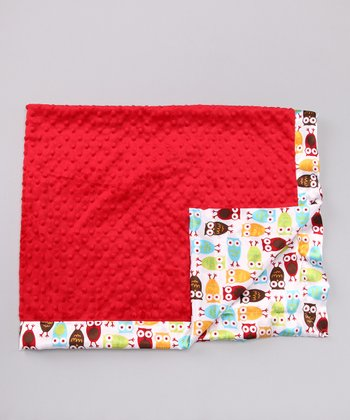 Red Night Owl Minky Toddler Blanket