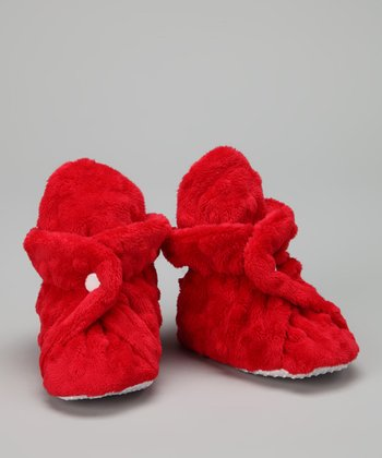 Red Minky Booties