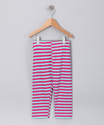 Fuchsia & Turquoise Stripe Capri Pants - Toddler & Girls