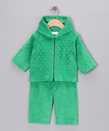 Kelly Green Minky Zip-Up Hoodie & Pants - Infant & Toddler