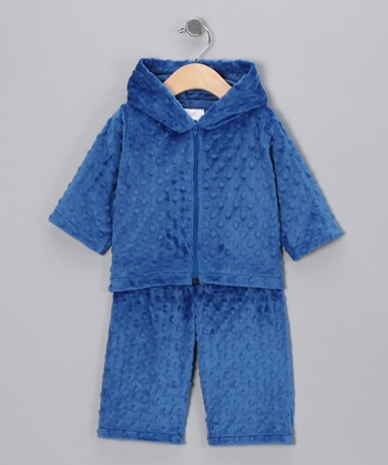 Royal Blue Minky Zip-Up Hoodie & Pants - Infant & Toddler