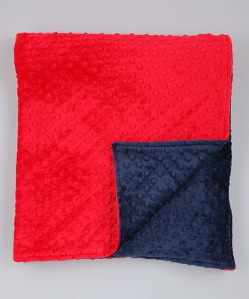 Red & Navy Minky Toddler Blanket