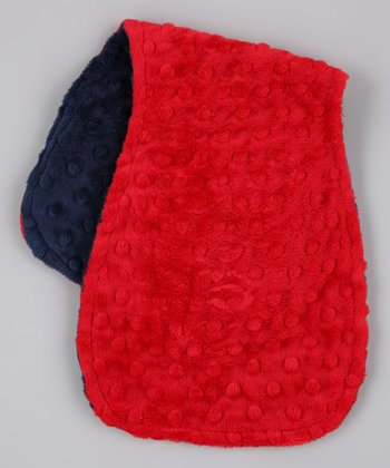 Red & Navy Reversible Minky Burp Cloth