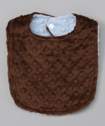 Blue & Brown Reversible Minky Bib