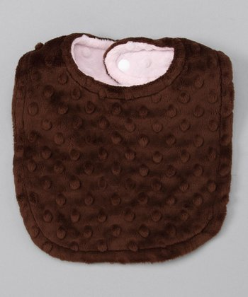 Pink & Brown Reversible Minky Bib