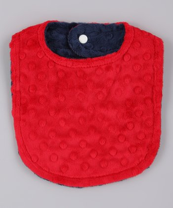 Red & Navy Reversible Minky Bib