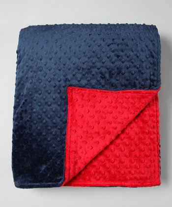 Navy & Red Minky Throw
