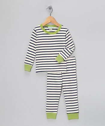 Navy & Cream Stripe Pajama Set - Toddler & Kids