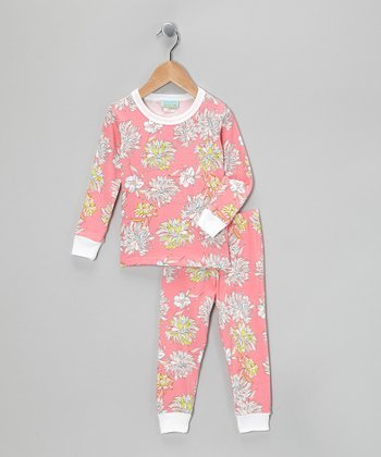 Coral Mums Pajama Set - Toddler & Girls
