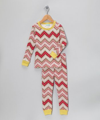 Red & Lime Zigzag Pajama Set - Toddler & Girls