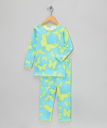 Blue & Green Butterfly Pajama Set - Girls