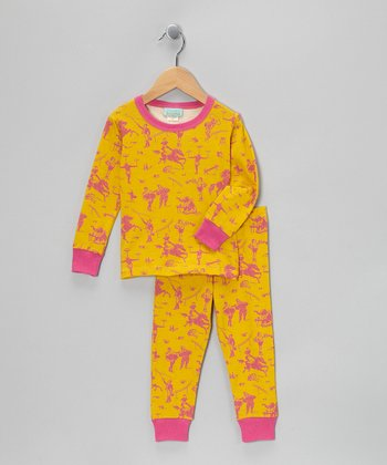 Pink & Orange Circus Pajama Set - Toddler