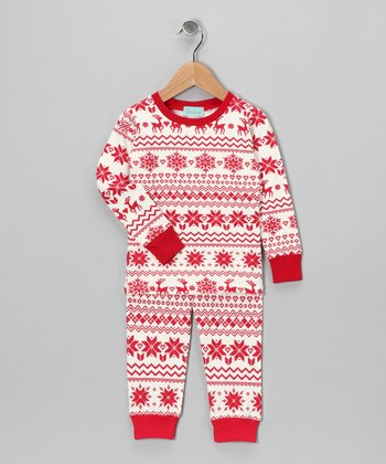 Red & Cream Fair Isle Pajama Set - Toddler & Girls