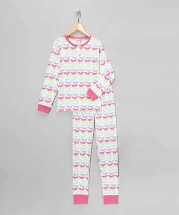 Pink & Aqua Big Top Pajama Set - Girls