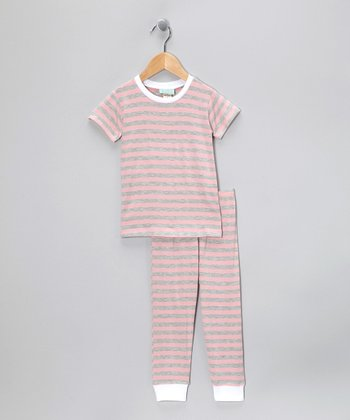 Pink Stripe Ivy League Short-Sleeve Pajama Set - Toddler & Girls