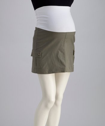 Bedondine Khaki Over-Belly Maternity Skirt