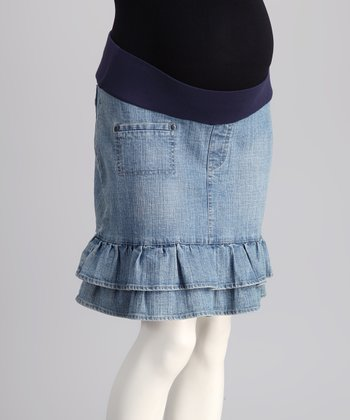 Bedondine Blue Denim Under-Belly Maternity Skirt
