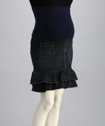 Bedondine Indigo Denim Mid-Belly Maternity Skirt