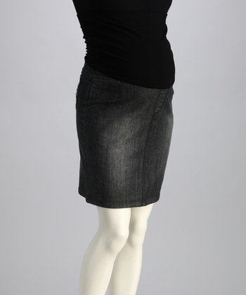 Bedondine Gray Denim Over-Belly Maternity Skirt