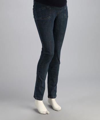 Denim Over-Belly Maternity Straight-Leg Jeans
